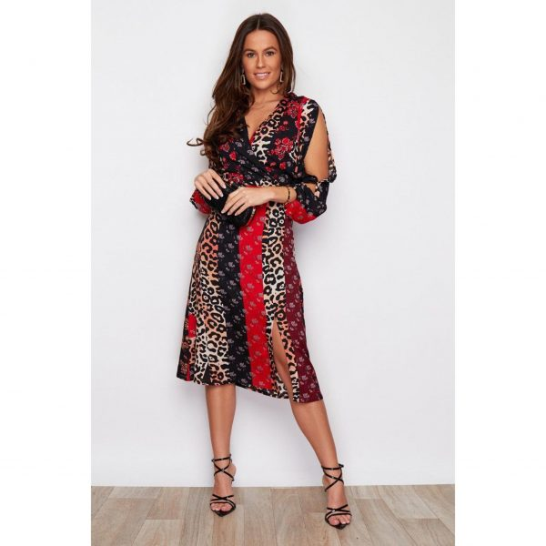 Red Leopard Mix Print Cut Sleeve Midi Dress