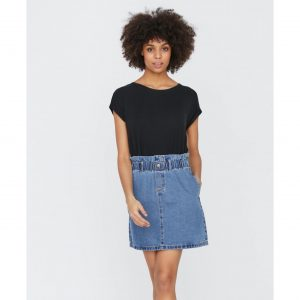Denim Paperbag Waist Mini Skirt
