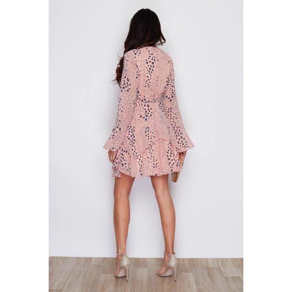 Peach Spot Mini Wrap Dress