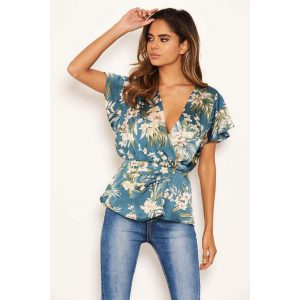 Duck Egg Floral Top