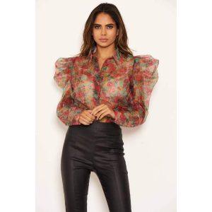 Floral Sheer Frill Shoulder Blouse