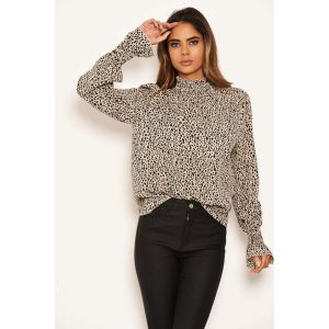 Cream and Black Spot High Neck Top