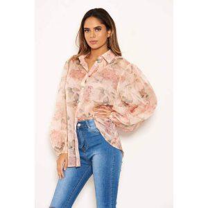 Pink Sheer Floral Blouse