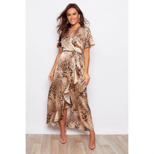 Gold Leopard Frill Maxi Dress