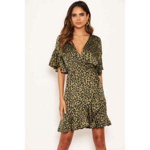 Khaki Leopard Mini Skater Dress