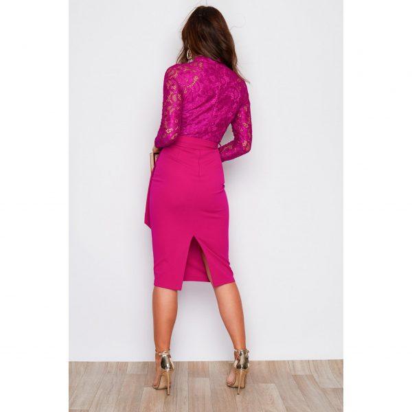 Pink Lace Top Midi Dress