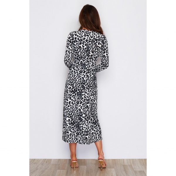 Black and White Leopard Midi Dress