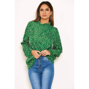 Green Floral Ditsy High Neck top