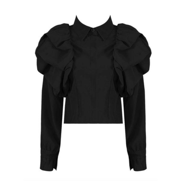 Black frill Shoulder Blouse