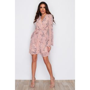 Peach Spot Mini Wrap Dress