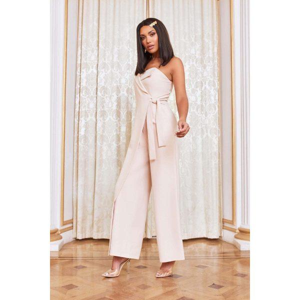 Lavish Alice Cream Wrap Jumpsuit