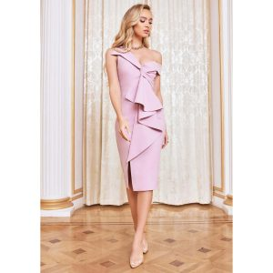 Lavish Alice Frill Front Dress Lilac