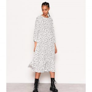 White and Black Splodge Print Smock Dress