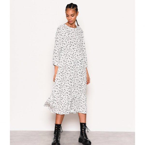 White and Black Splodge Print Smock Dress