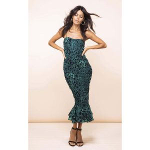 Dancing Leopard Luiza Sheering Dress Green Leopard