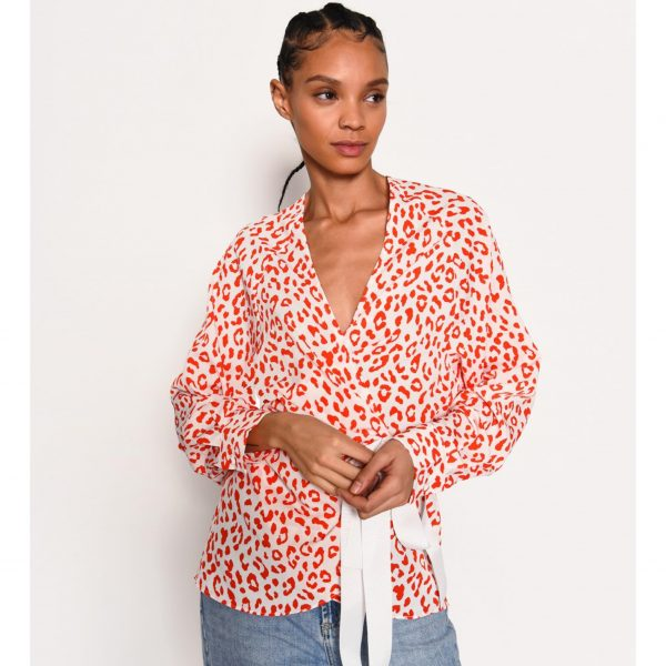 Red and White Leopard Wrap Top