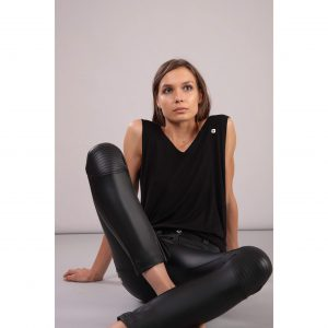 Freddy Biker Style Leather Look Trousers 7/8 length