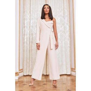 Lavish Alice Cream Wrap Jumpsuit