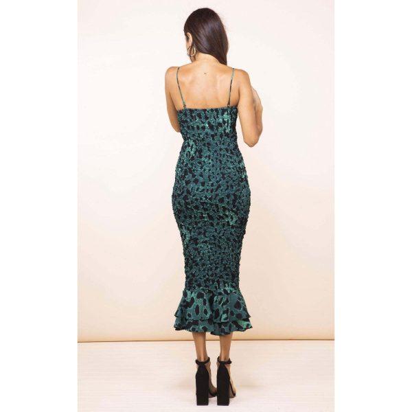 Dancing Leopard Luiza Sheering Dress Green Leopard