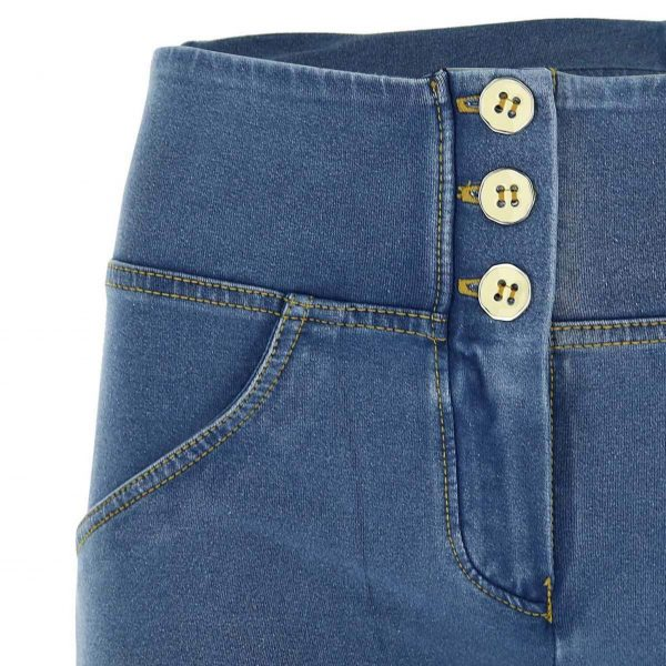 Freddy Light Denim High Rise 7/8 Button Detail