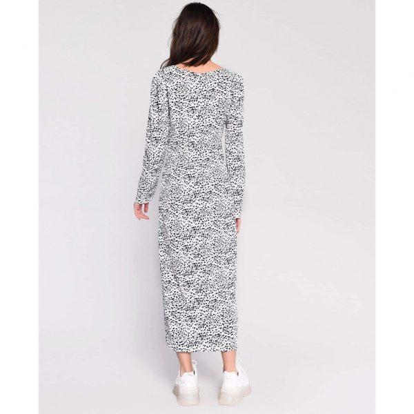 White and Black Animal Print Midi Dress