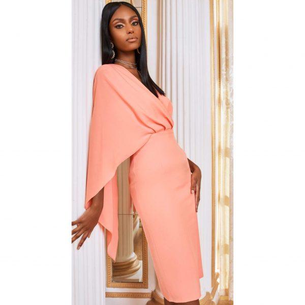 One Shoulder Cape Midi Dress in Cantaloupe