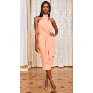 Satin Midi Dress in Light Cantaloupe