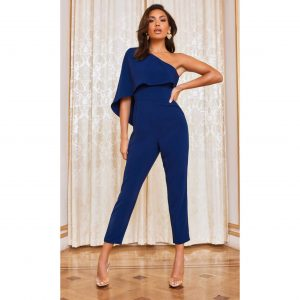 Navy Cape Sleeve Jumpsuit
