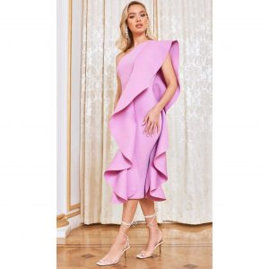 Lilac One Shoulder Scuba Frill Midi Dress