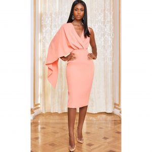 One Shoulder Cape Midi Dress in Cantaloupe