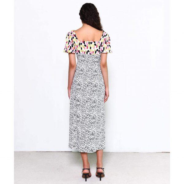 Multi Colour Mix Print Midi Dress