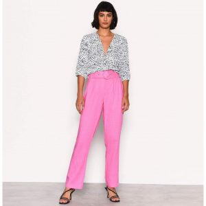 Pink Linen Paperbag Trousers