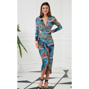 Blue Multi Colour Leopard Print Ruched Jersey Dress