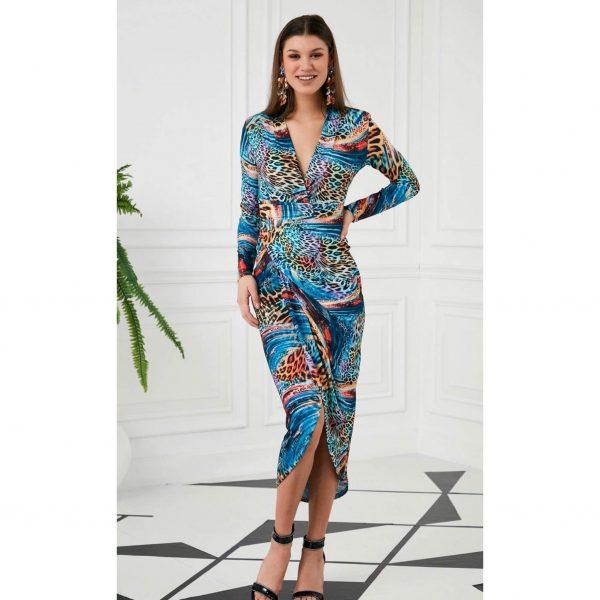 Blue Multi Colour Leopard Print Ruched Jersey Dress