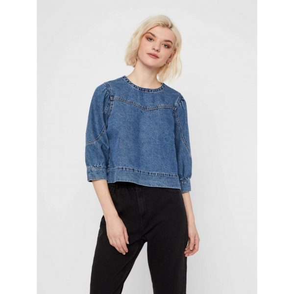 Denim Puff Shoulder Top