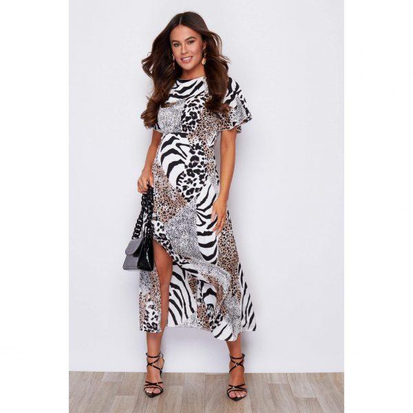 Black and White Leopard Midi Dress