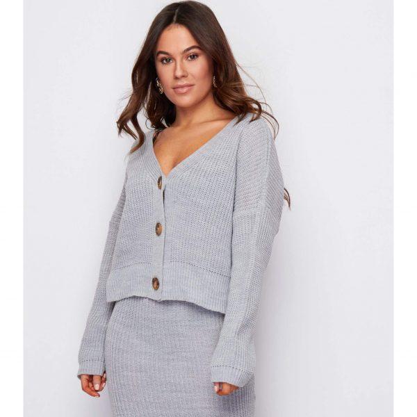 Grey Short Knit Cardigan