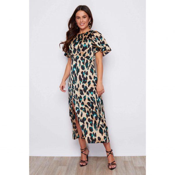Leopard and Green Midi Dress