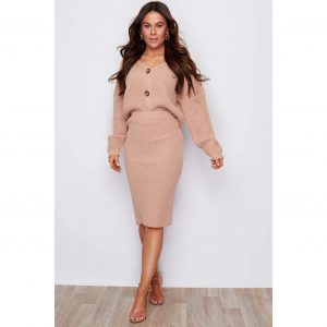Nude Knit Midi Skirt