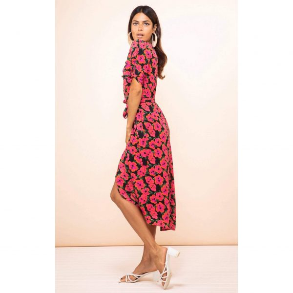 Dancing Leopard Olivera Midi Dress in Hibiscus Pink on Black