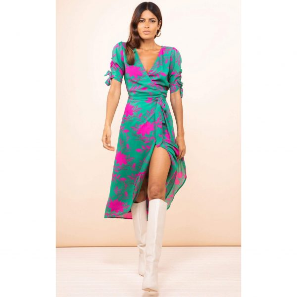 Dancing Leopard Olivera Midi Dress Silhouette in Pink on Green