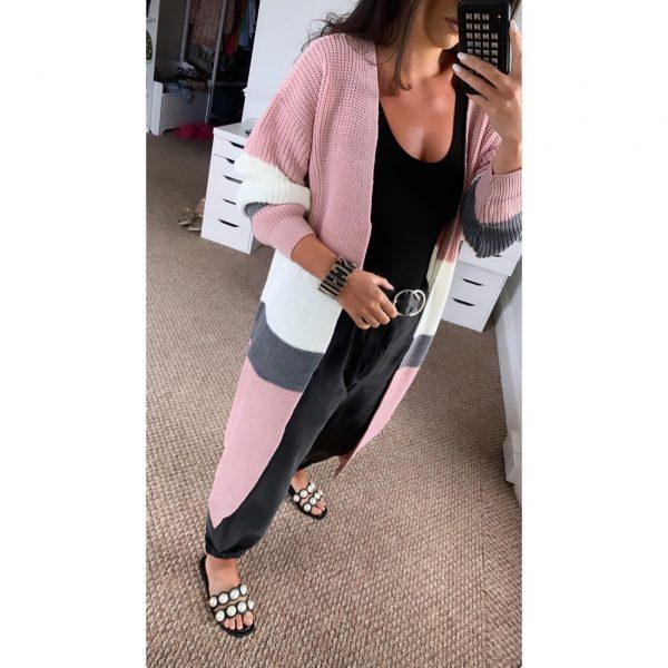 Pink Striped Longline Cardigan