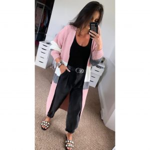 Pink Striped Longline Cardigan