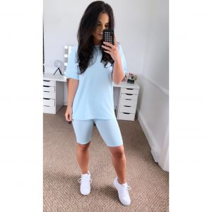Light Blue Co-Ord T-shirt & Cycling Shorts