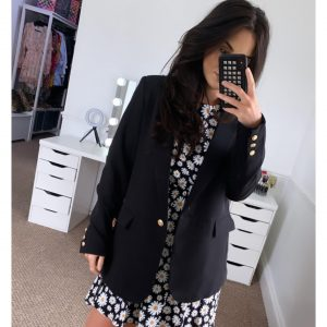 Black Oversized Blazer with Gold Buttons