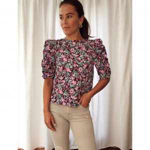 Black and Pink Floral Round Neck Puff Sleeve Top