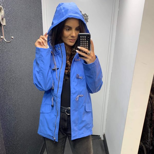 Beige Hooded Rain Jacket