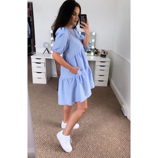 Blue Babydoll Smock Dress