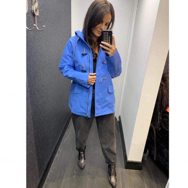 Blue Hooded Rain Jacket