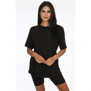 Black T-Shirt & Cycling Shorts Co-Ord